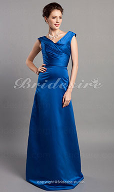 A-Lijn V-hals Prinses Stretch Satijn Vloer Lengte Bridesmaid/ Wedding Party Kleding