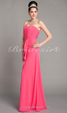 Schede/ Column Vloer Lengte Strapless Chiffon Over Mading Gedrapeerde Bridesmaid/ Wedding Party Kleding