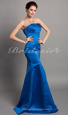 Trumpet / Zeemeermin Satijn Vloer Lengte Strapless Bridesmaid/ Wedding Party Kleding