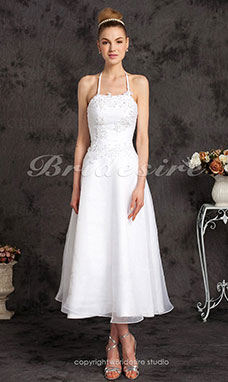 A-Lijn Organza Thee lengte Halster with Beaded Appliqué