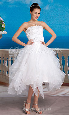 Galajurk Organza Asymmetrisch Strapless Bruidsjurk With Removable Kathedraalsleep