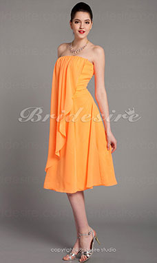 Schede/ Column Chiffon Over Elastic Satijn Knielengte Strapless Bridesmaid/ Wedding Party Kleding