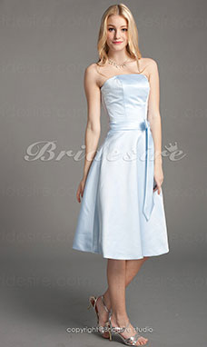 A-Lijn Satijn Prinses Knielengte Strapless Bridesmaid/ Wedding Party Kleding