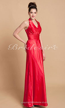 Schede/ Column Charmeuse Asymmetrisch Halster Bridesmaid/ Wedding Party Kleding