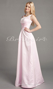 A-Lijn Satijn Vloer Lengte Scoop Bridesmaid/ Wedding Party Kleding
