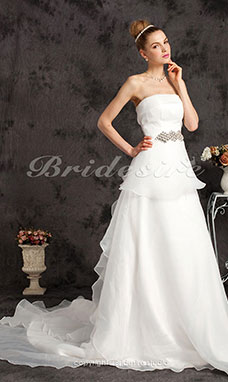 A-Lijn Organza Hof Sleep Strapless Bruidsjurk With Tiered