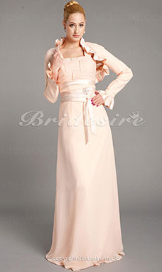 Schede/Kolom Chiffon en Satijn Vloer Lengte Vierkant Mother Of The Bride Kleding With A Wrap