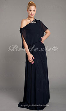 Schede/Kolom Chiffon Vloer Lengte Strapless Mother Of The Bride Kleding With A Wrap