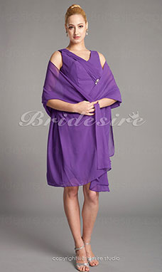 Schede/Kolom Chiffon Knielengte V-hals Mother Of The Bride Kleding With A Wrap