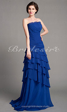 A-Lijn Chiffon Sweep Brush Train Strapless Mother Of The Bride Kleding