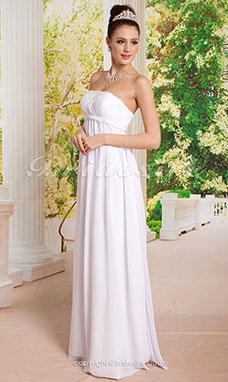 Schede/Kolom Chiffon Imperium Taille Vloer Lengte Strapless