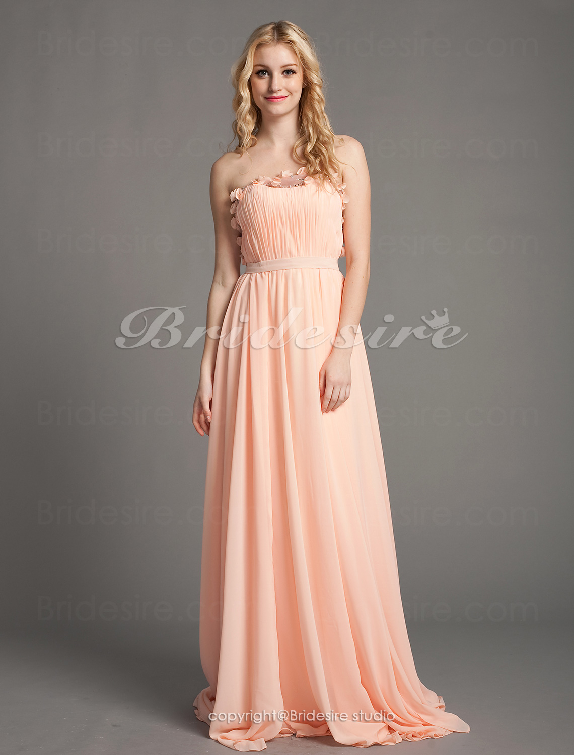 A-line Sweep Brush Train Strapless Luxurious Chiffon And Satin C