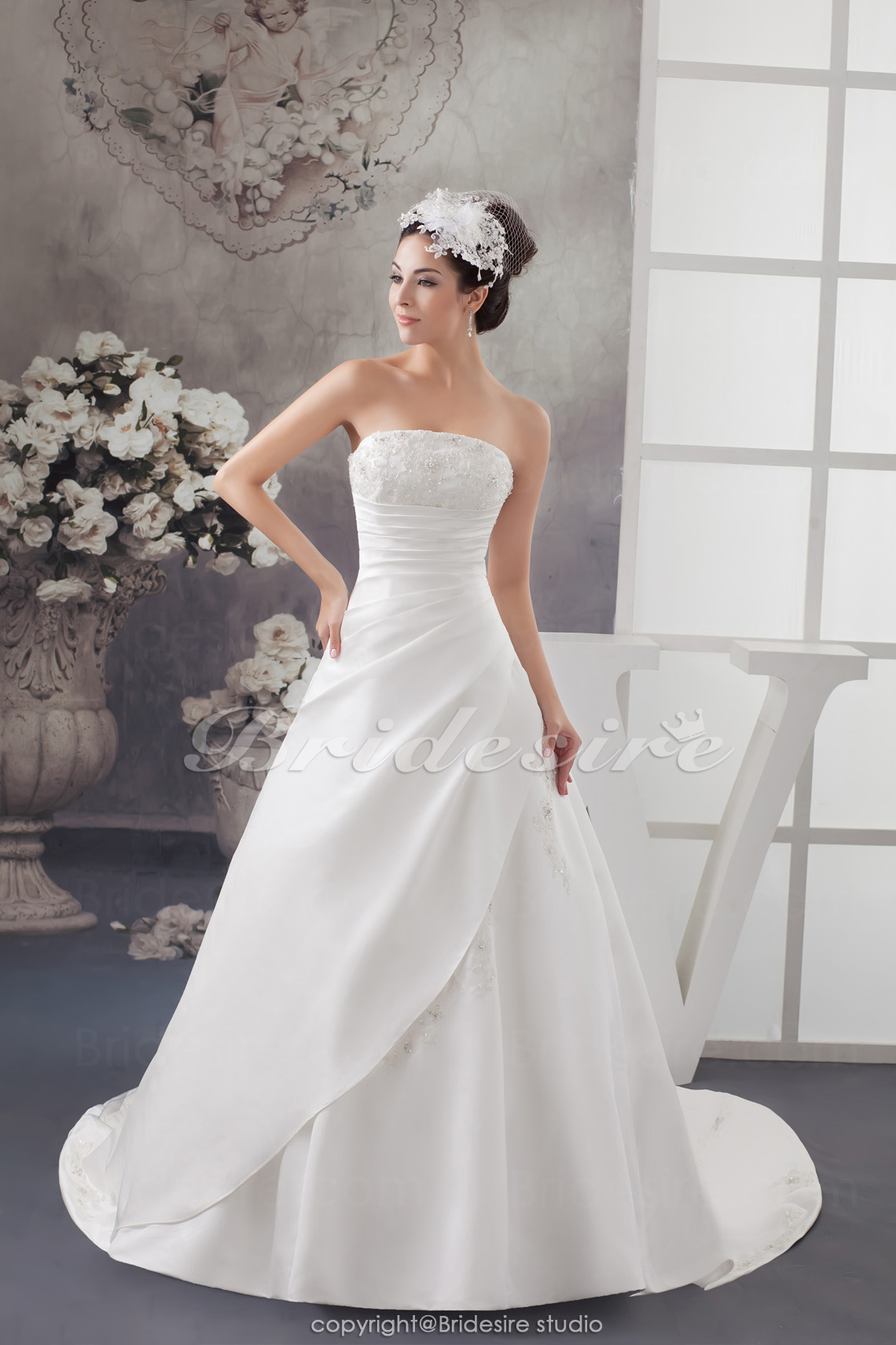 A-line Strapless Chapel Train Sleeveless Satin Wedding Dress