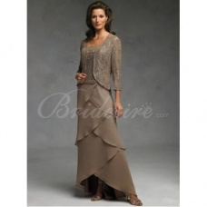 Schede / Column Thee lengte Chiffon Kant Bruidsmoederjurken with Wrap