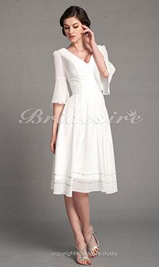 60968ae151c86c A-Lijn Chiffon V-hals Kort  Mini Coktail jurk
