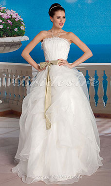 Galajurk Tule Vloer Lengte Strapless With Sashes
