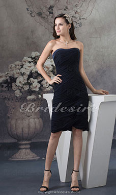 Schede/Kolom Strapless Knielengte Mouwloos Chiffon Kleding