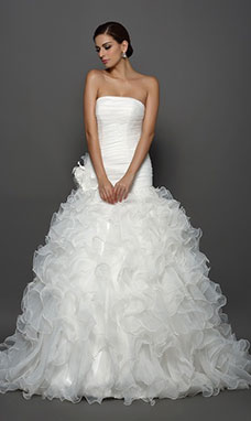 Strapless Mouwloos Organza