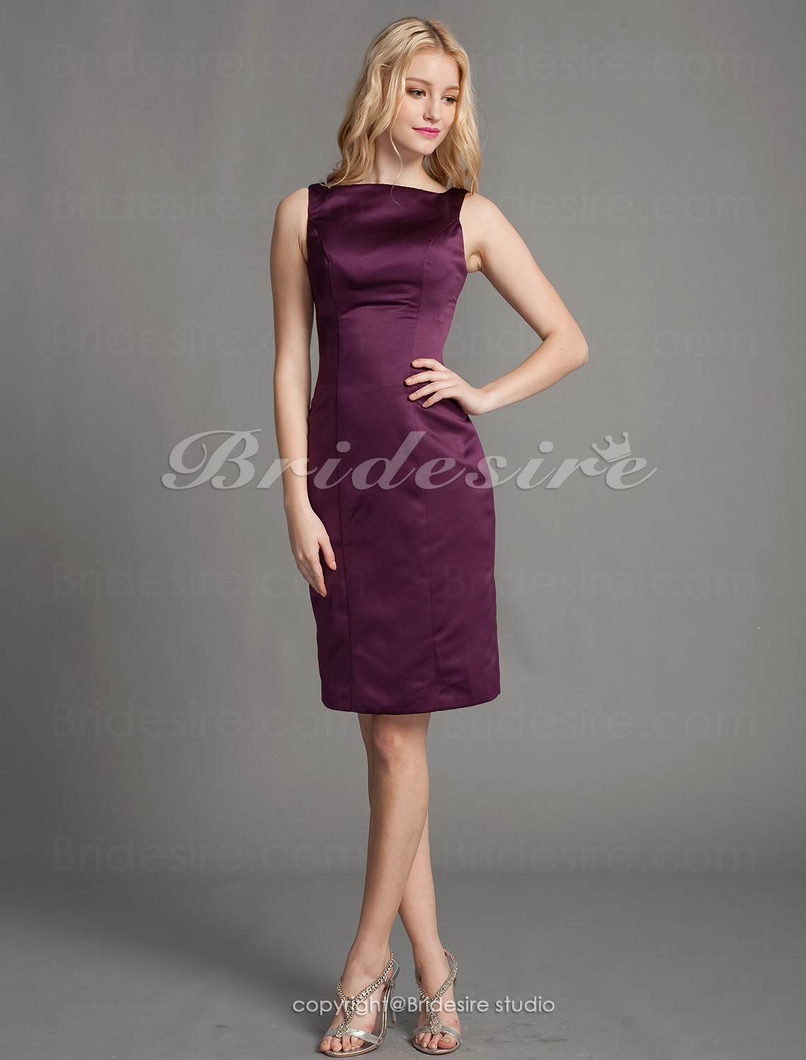 Schede/ Column Satijn Knielengte Boot Bridesmaid/ Homecoming/ Wedding Party Kleding