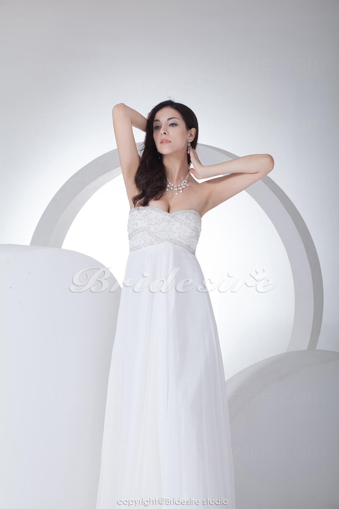 Schede/Kolom Strapless Vloer Lengte Mouwloos Chiffon