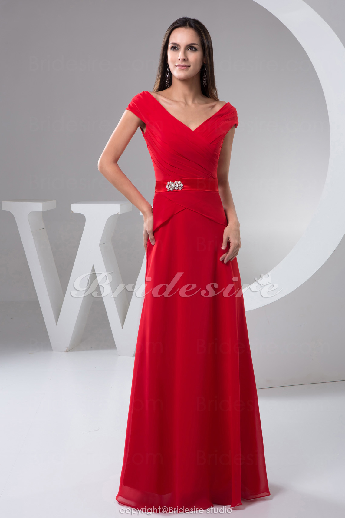 A-line V-neck Floor-length Short Sleeve Chiffon Satin Dress