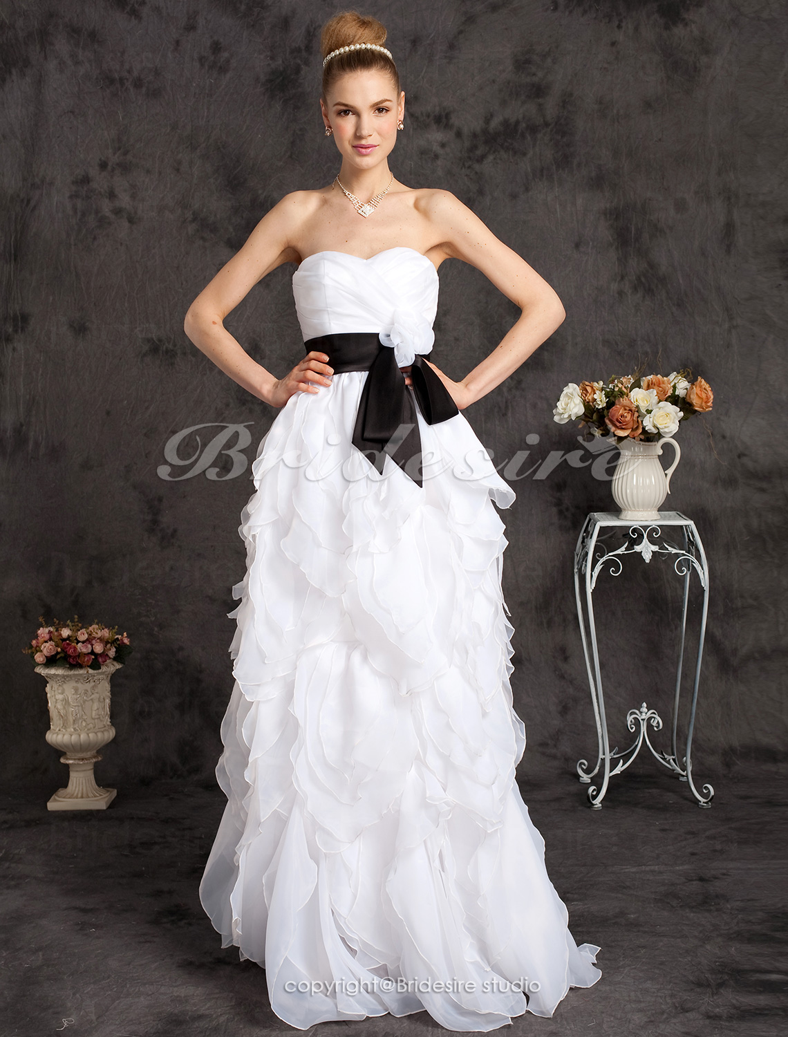 A-Lijn Vloer Lengte Organza Liefje Strapless Prinses