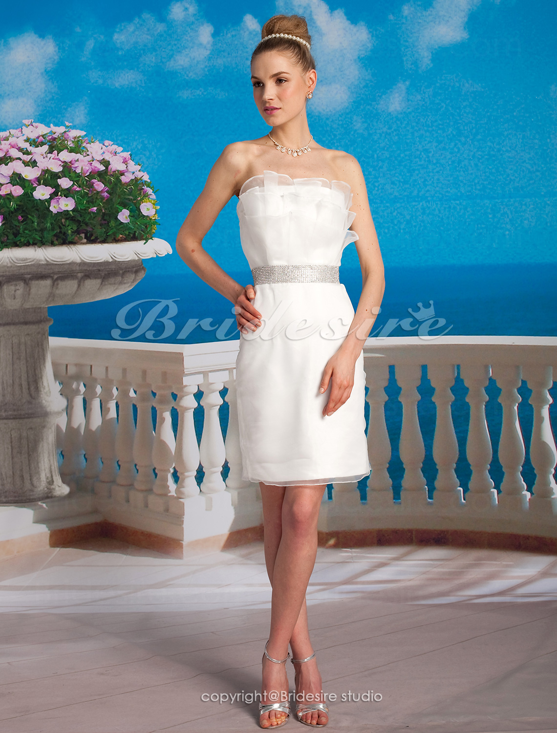 Schede Column Organza Satijn Kort Mini Strapless