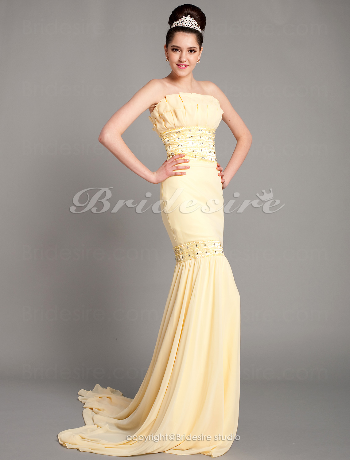 Trumpet/ Zeemeermin Chiffon Sweep/ Brush Train Strapless jurk